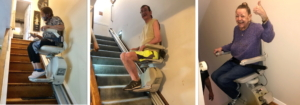 three homeowners on their stairlifts